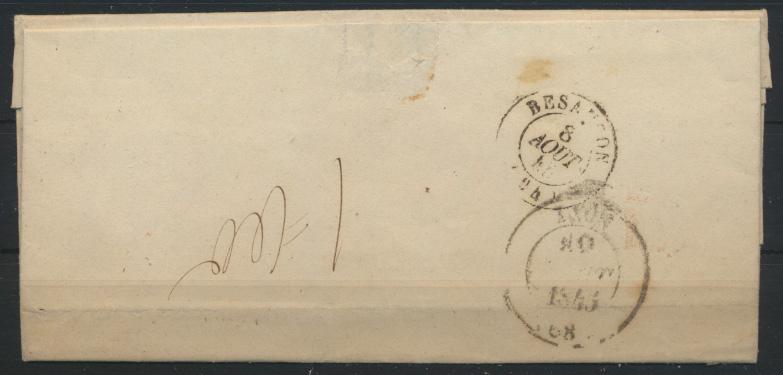France Frankreich Brief Marnay via Besançon nach Lyon 8.8.1846  1