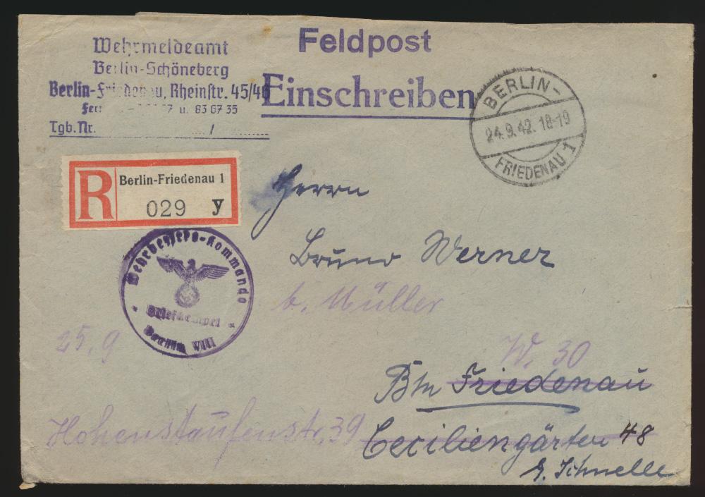 Reich R Brief Feldpost Wehrmeldeamt Berlin Schöneberg Friedenau weitergeleitet 0