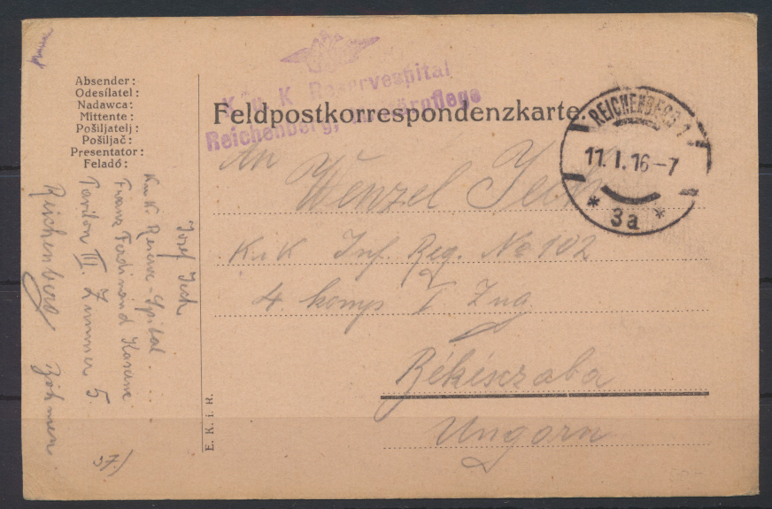 Feldpostkarte KuK Reservespital R 3 Reichenberg Militärpflege Békéscsaba Ungarn  0