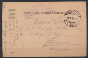 Feldpostkarte KuK Reservespital R 3 Reichenberg Militärpflege Békéscsaba Ungarn