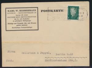 Deutsches Reich EF 8 Pfg. Ebert mit Lochung Perfin KH Karl Hiersmann Leipzig