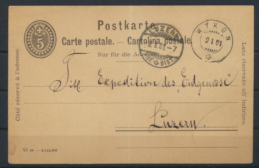 Switzerland Schweiz Ganzsache postal stationery 5c ab Wykon nach Luzern 2.1.1901 0