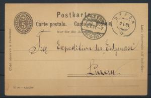 Switzerland Schweiz Ganzsache postal stationery 5c ab Wykon nach Luzern 2.1.1901