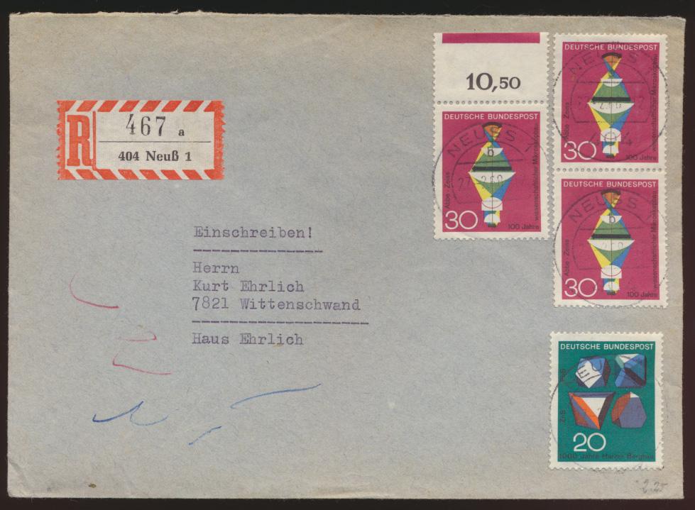 Bund R Brief MIF mit Farbstreifen Neuß nach Wittenschwand 27.2.1968  0