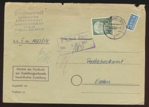 Bund Brief EF 90 Pfg. Heuss Düsseldorf Überkassel nach Essen auf Urkunde