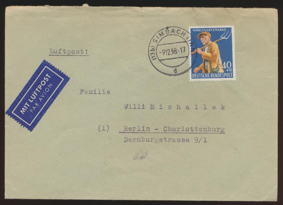 Bund Brief EF 300 Wohlfahrt Landwirtschaft Simbach n. Berlin Charlottenburg 0