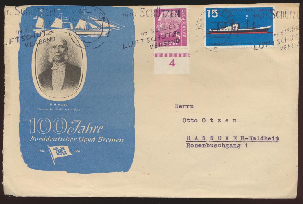 Bund Schiffspost Brief + Heuss 100 J. Norddeutscher Lloyd Bremen n. Hannover 0
