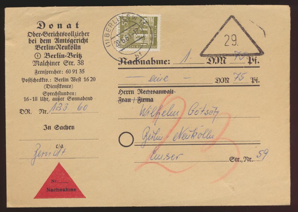 Berlin Nachnahme Brief EF 150 Stadtbilder Berlin Neukölln 20.6.1960 0