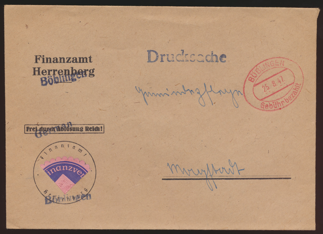 All. Besetzung Brief Böblingen Gebühr bezahlt 25.8.1947  0