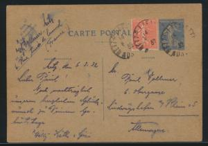 Frankreich France Ganzsache postal stationery 40c+ZuF 50c nach Ludwigshafen 1932