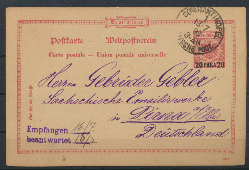 Kolonien DPA Türkei Ganzsache postal stationery 20 Aufdruck Para a. 10Pfg. Adler 0