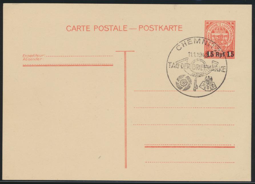 Deutsche Besetzung 2. Weltkrieg Ganzsache Luxemburg mit SST Chemnitz Briefmarke 0