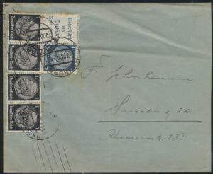 Deutsches Reich Zusammendruck Brief W 85 W 89 Hamburg 2.10.1940
