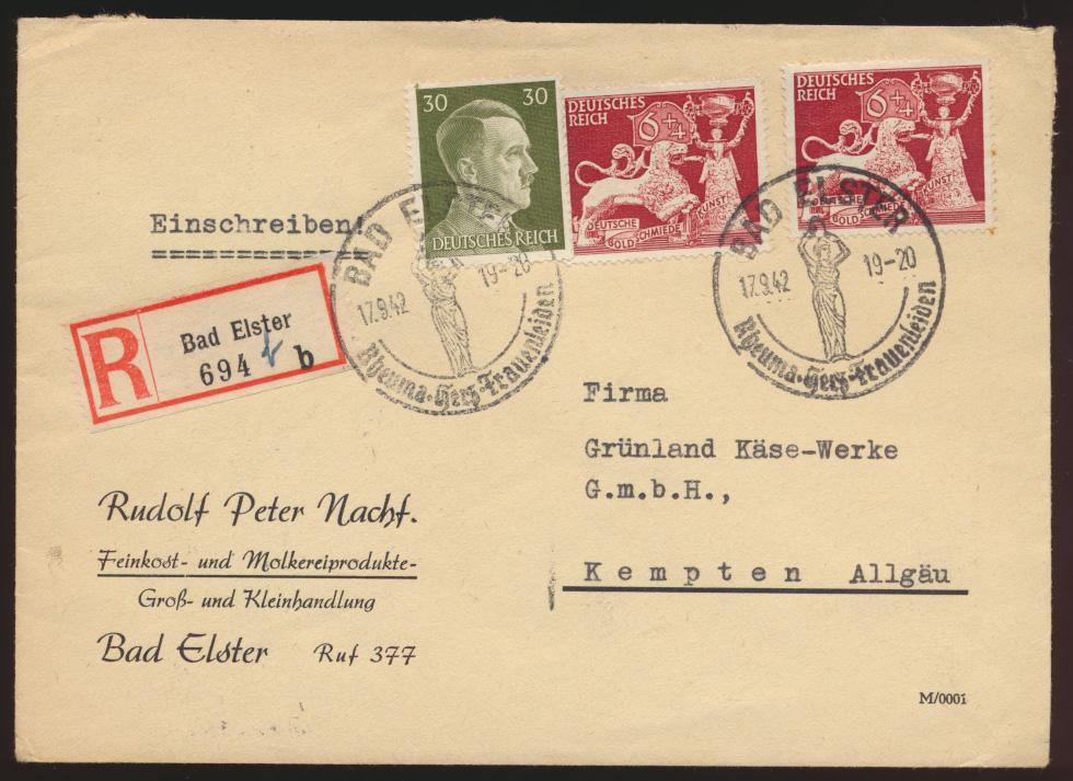 Deutsches Reich R Brief MIF SST Bad Elster nach Kempten Allgäu 17.9.1942 0
