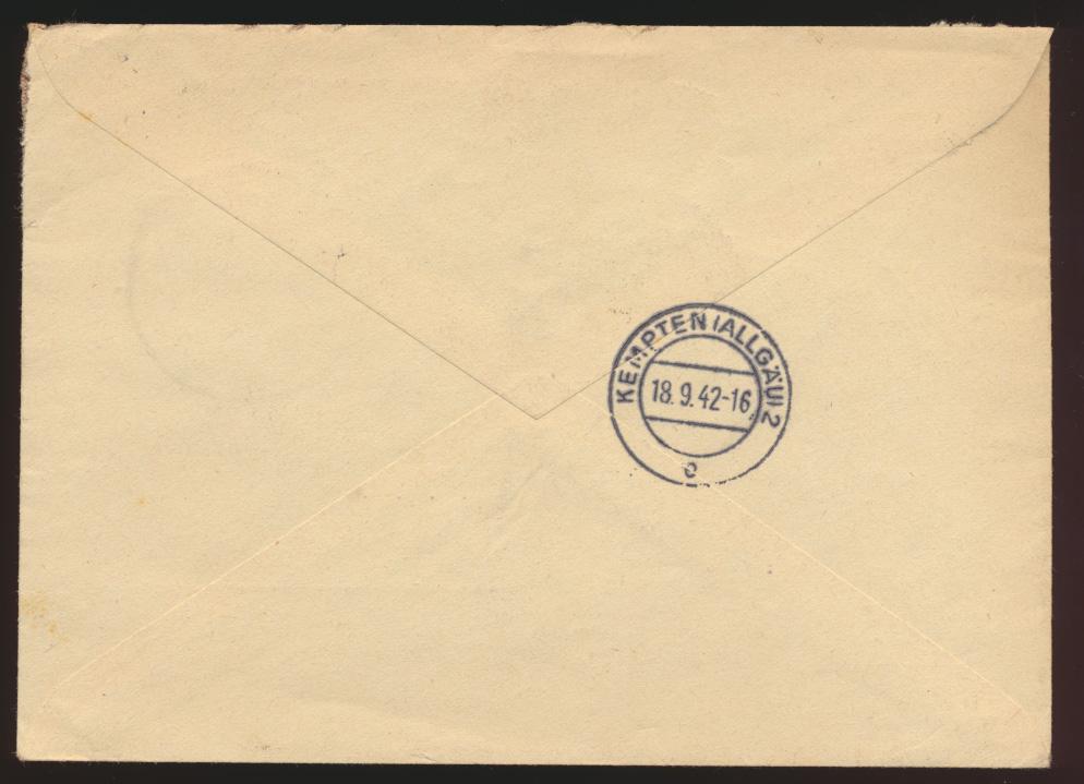 Deutsches Reich R Brief MIF SST Bad Elster nach Kempten Allgäu 17.9.1942 1