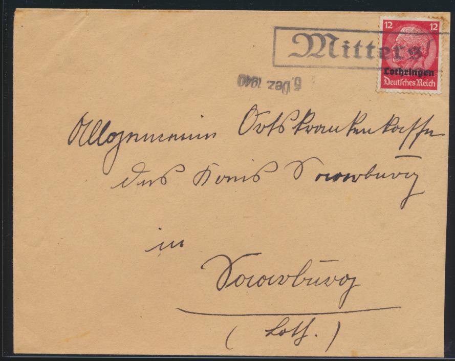 Deutsche Besetzunug II Weltkrieg Aufdruck Lothringen R1 Mittersheim Frankreich 0