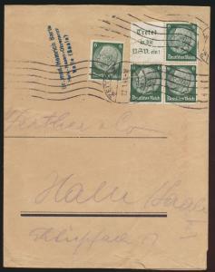 Deutsches Reich Brief Zusammendruck ab Zeitz nach Halle Streifband