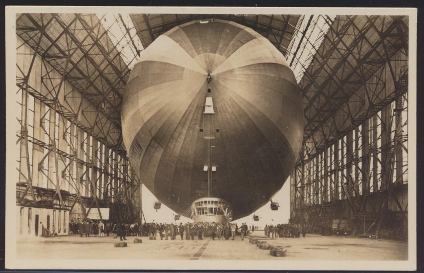 Flugpost Zeppelin air mail Ansichtskarte Einbringen in Halle n. Bad Oeynhausen 0