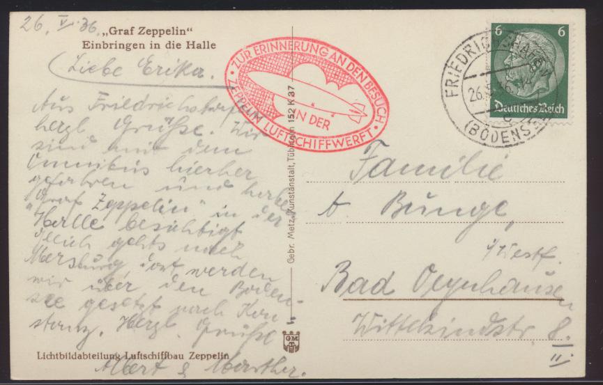 Flugpost Zeppelin air mail Ansichtskarte Einbringen in Halle n. Bad Oeynhausen 1