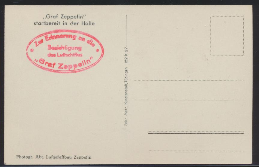 Flugpost Zeppelin air mail Ansichtskarte Startbereit in der Halle Verlag Metz  1
