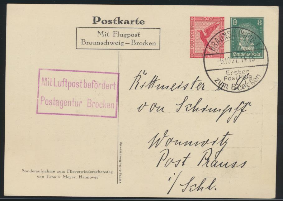 Reich Privatganzsache PP 92 C1 Flugpost air mail Hindenburg 1 Postflug 0