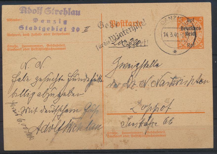 Deutsches Reich Ganzsache P 283 Werbestempel Danzig Winterhilfe n. Zoppot 300,- 0