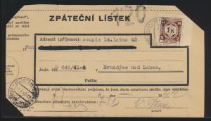 Besetzung Böhmen & Mähren Brief EF 1 K.  Dienst Brandeis nad Labem