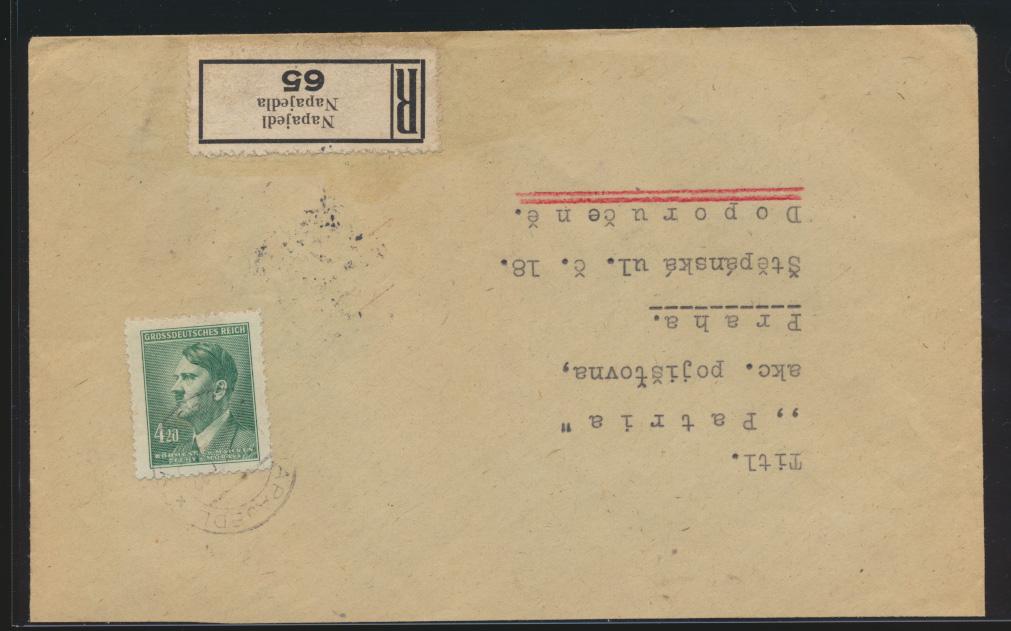 Besetzung Böhmen & Mähren R Brief EF 4,20 Napajedl nach Prag 0