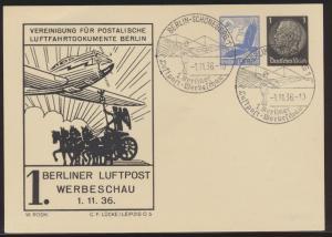 Flugpost Deutsches Reich Privatganzsache PP 139 C SST Berlin Schöneberg Luftpost