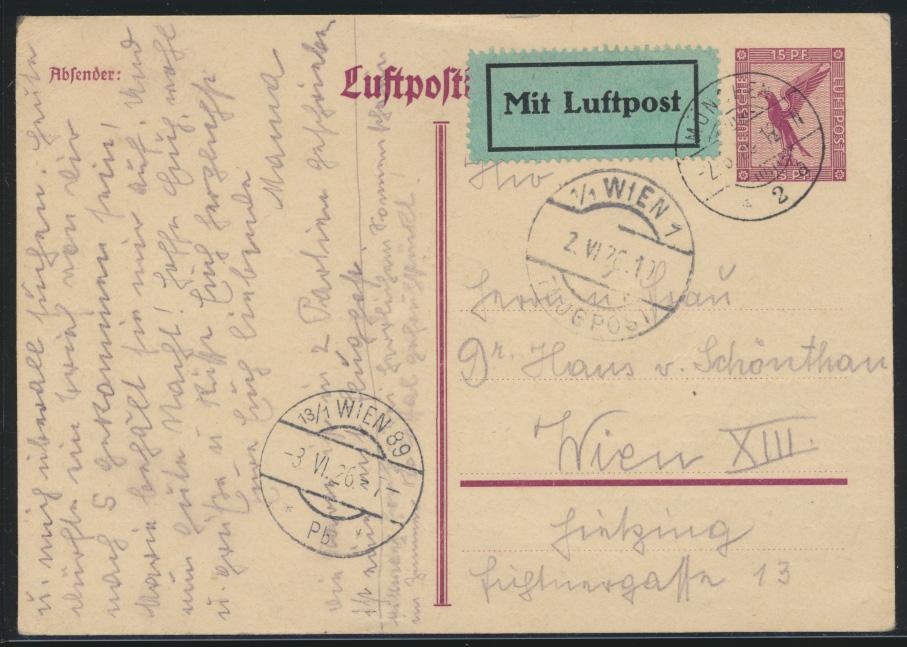 Flugpost air mail Ganzsache postal stationery München Wien 89 2.6.1926 0