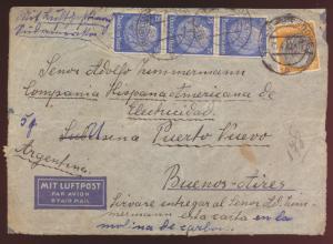 Flugpost Deutsches Reich Zensur Brief Berlin Biesdorf nach Buenoe Aires
