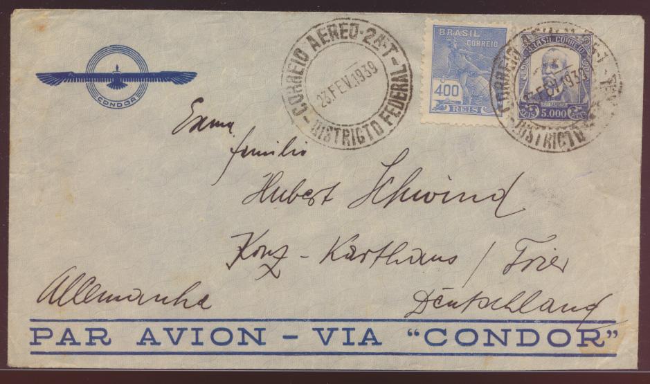 Flugpost Brasilien Condor Brief Rio nach Konz Karthaus Trier air mail Brasilia 0