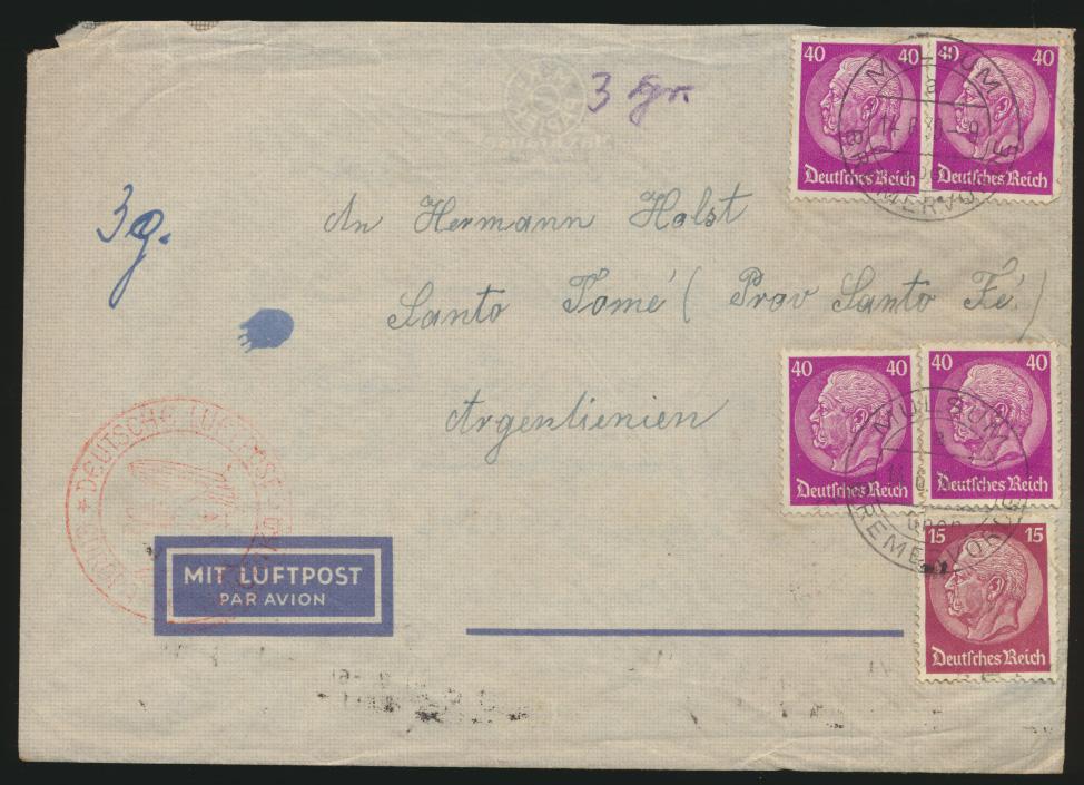Flugpost Zeppelin air mail Reich Brief Europa Südamerika Santo Tomé Argentinia 0