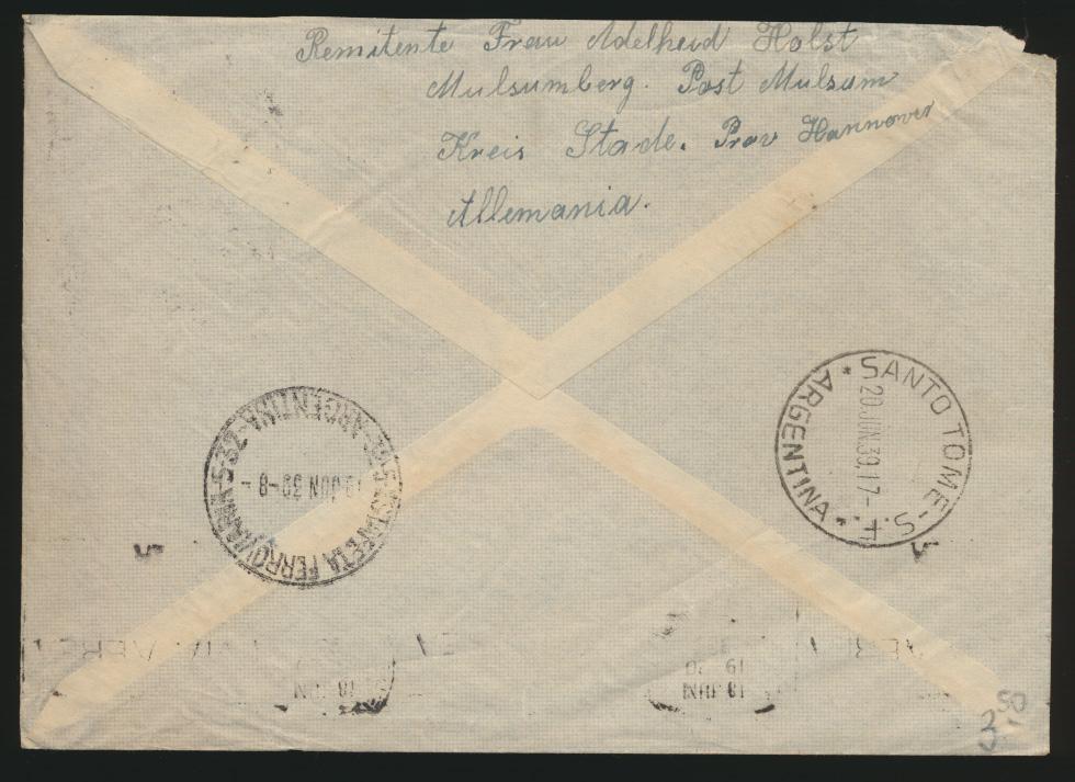Flugpost Zeppelin air mail Reich Brief Europa Südamerika Santo Tomé Argentinia 1