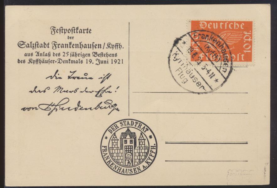 Flugpost air mail Brief D. Reich EF 111 b geprüft Infla Sonderkarte 100,- ++ 0