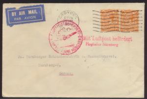 Flugpost air mail Brief Großbritannien Croydon Surrey München Nürnberg Flughafen