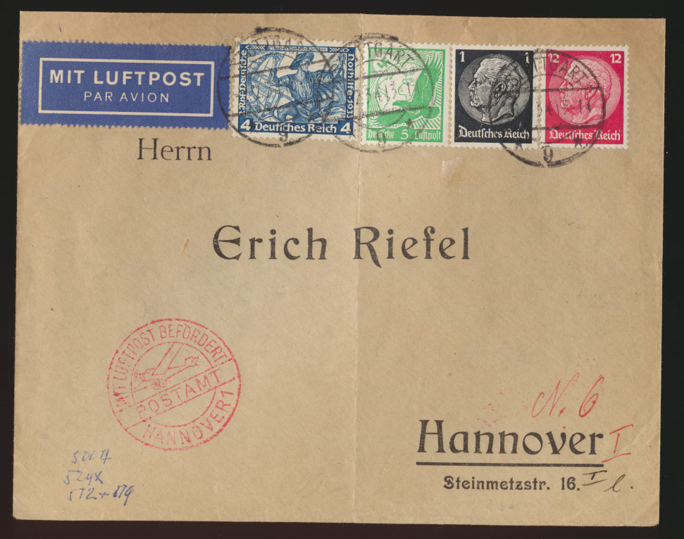 Flugpost air mail Brief Deutsches Reich MIF Wagner Hindenburg Hannaover 2.2.1934 0