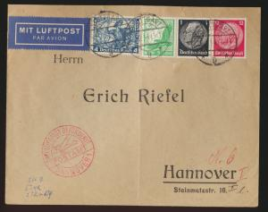 Flugpost air mail Brief Deutsches Reich MIF Wagner Hindenburg Hannaover 2.2.1934