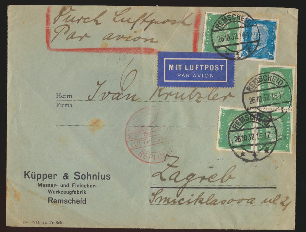 Flugpost air mail Brief D. Reich MIF Persönlickeiten Remscheid Zagreb Kroatien 0