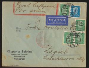 Flugpost air mail Brief D. Reich MIF Persönlickeiten Remscheid Zagreb Kroatien