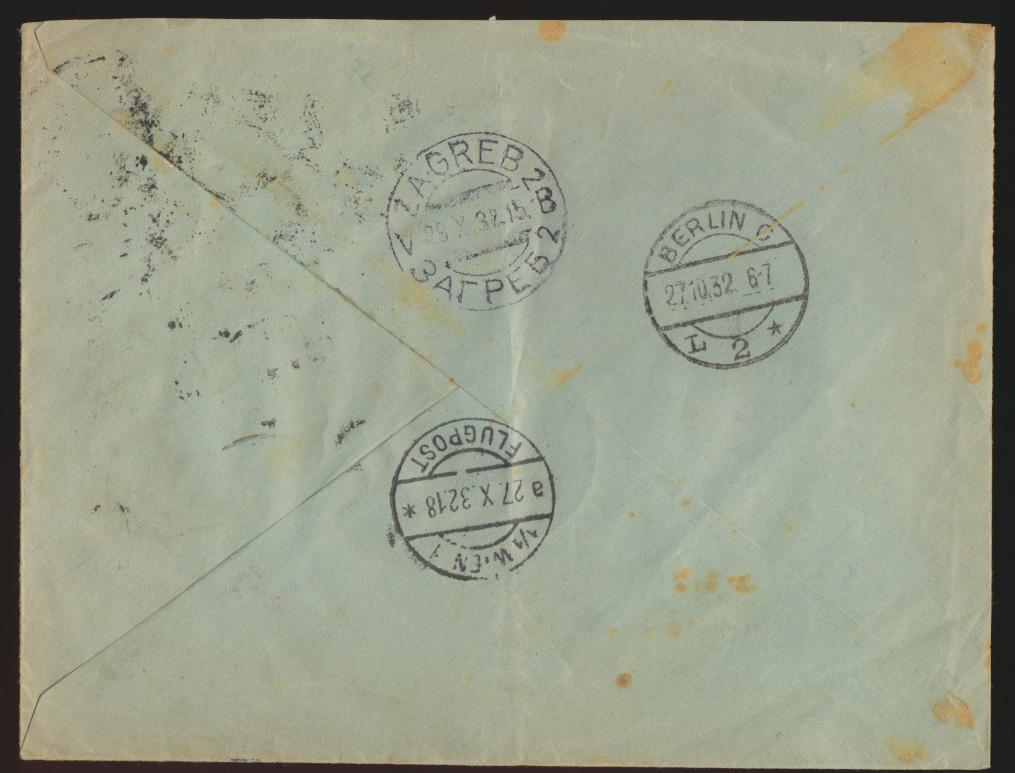 Flugpost air mail Brief D. Reich MIF Persönlickeiten Remscheid Zagreb Kroatien 1