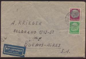 Deutsches Reich Zensur Brief MIF Hindenburg Königshofen Grabfeld Buenos Aires