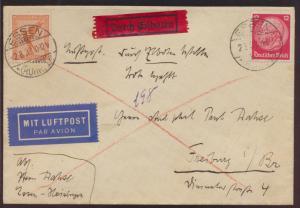 Flugpost Deutsches Reich Eilboten Brief Essen nach R 2 Luftpostamt Freiburg