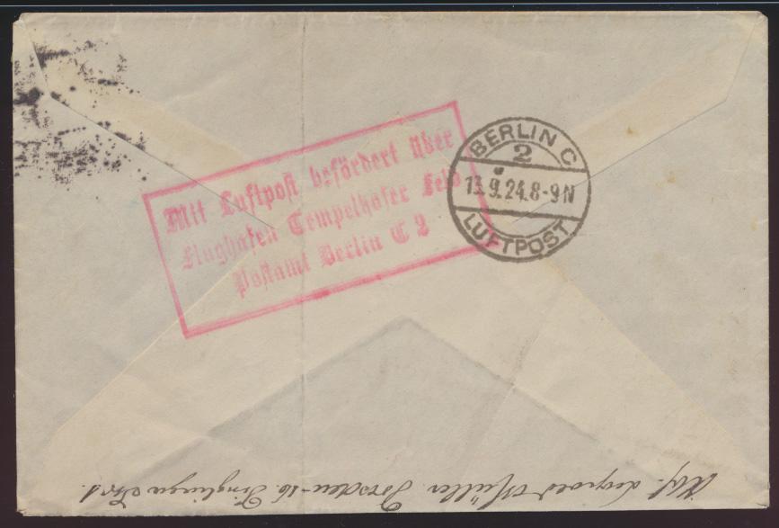 Flugpost D. Reich Brief MIF Holztaube Dresden R3 Flughafen Tempelhofer Berlin 1