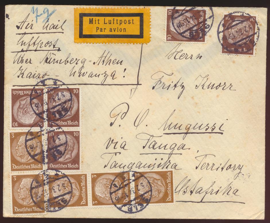Flugpost air mail letter Nürnberg Athen nach Kairo via Tanga Ostafirka Bahnpost 0