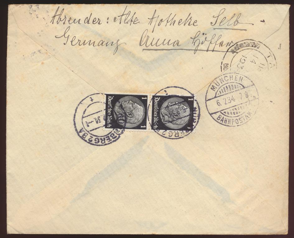 Flugpost air mail letter Nürnberg Athen nach Kairo via Tanga Ostafirka Bahnpost 1