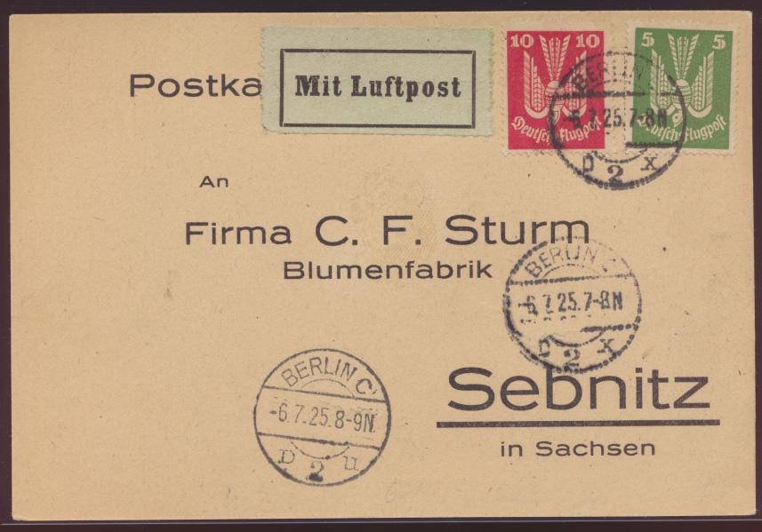 Flugpost air mail letter Deutsches Reich MIF Holztaube Berlin nach Sebnitz  0