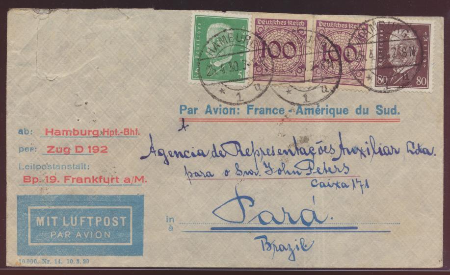 Flugpost air mail letter Bahnpost Hamburg Zug D 192 Hamburg Para Brasilia  0