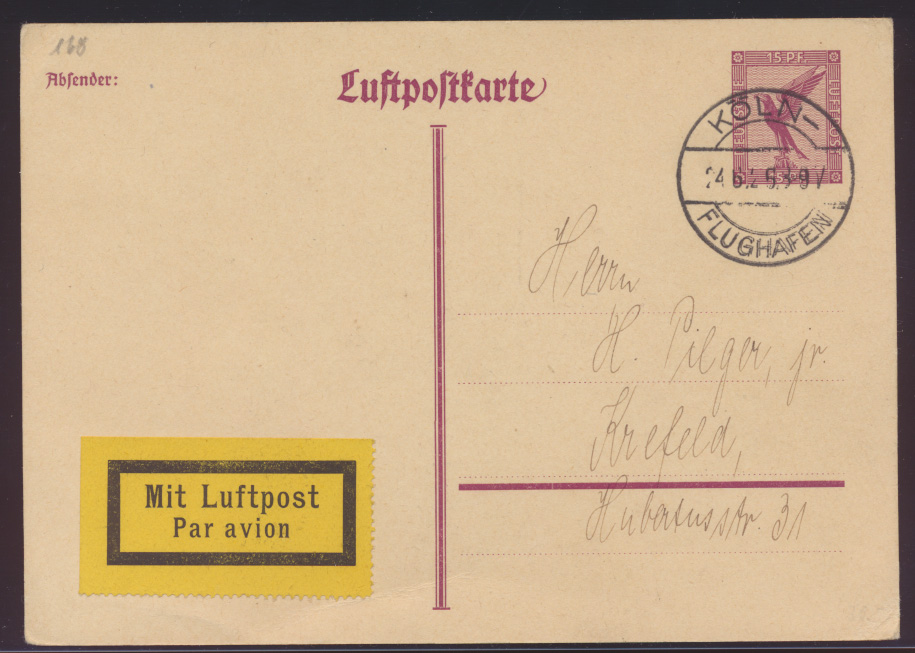 Flugpost air mail Ganzsache postal stationery Köln Flughafen 24.6.1926 0