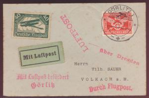 Flugpost air mail Deutsches Reich toller Stempel Görlitz n. Volkach via Dresden